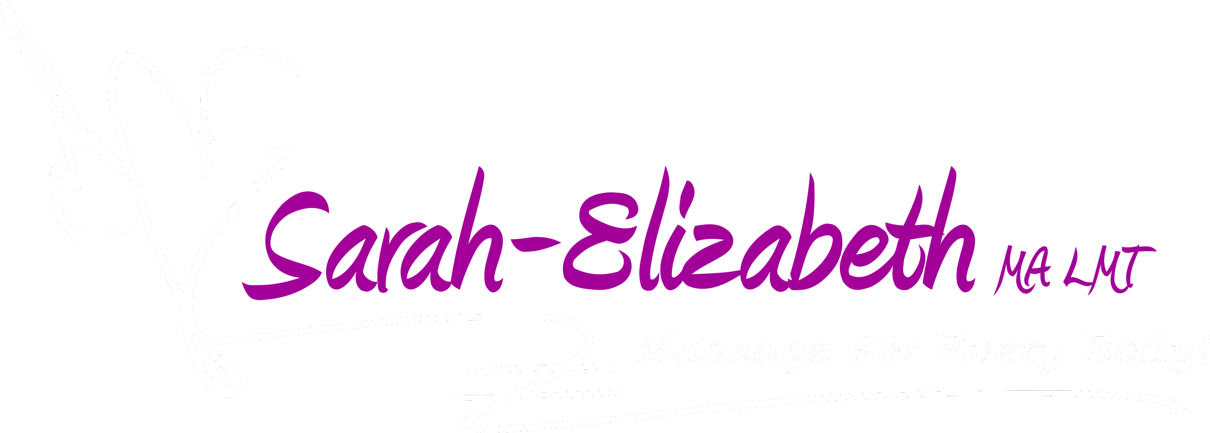 """Sarah-Elizabeth, MA, LMT. Heart with wings to the left, and at the bottom, """"massage for every body"""""""